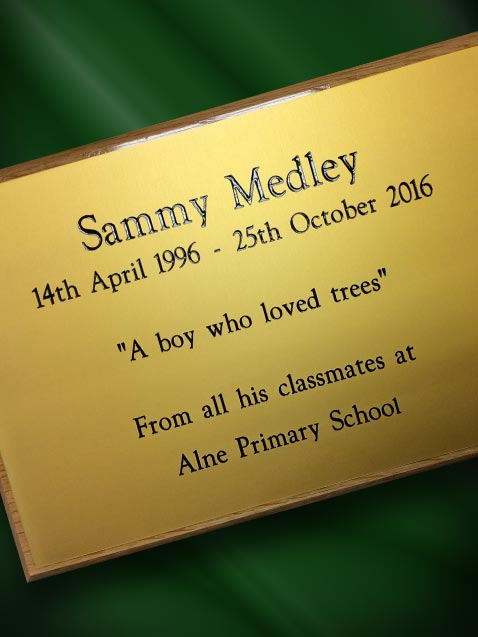 engraved anodised aluminium plaque