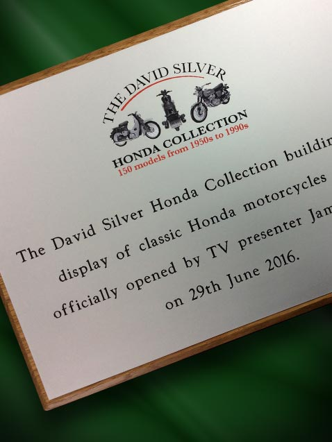 engraved silver look plaque with backboard