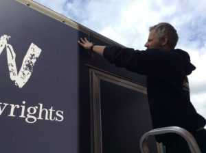 Signage being fitted