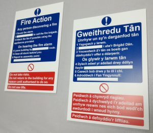 welsh fire action signs